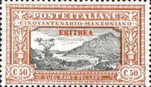 """[The 50th Anniversary of the Death of Alessandro Manzoni - Italian Postage Stamps Overprinted """"ERITREA"""", type U3]"""