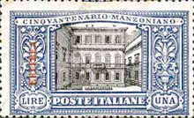 """[The 50th Anniversary of the Death of Alessandro Manzoni - Italian Postage Stamps Overprinted """"ERITREA"""", type U4]"""
