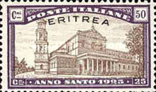 """[Holy Year - Italian Postage Stamps Overprinted in Red or Black """"ERITREA"""", type Y2]"""