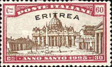 """[Holy Year - Italian Postage Stamps Overprinted in Red or Black """"ERITREA"""", type Y3]"""