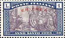 """[Holy Year - Italian Postage Stamps Overprinted in Red or Black """"ERITREA"""", type Y4]"""