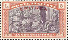 """[Holy Year - Italian Postage Stamps Overprinted in Red or Black """"ERITREA"""", type Y5]"""