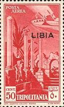"""[Airmail - Italian Tripolitania Postage Stamps Overprinted """"LIBIA"""", type T]"""