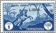 """[Airmail - Italian Tripolitania Postage Stamps Overprinted """"LIBIA"""", type T1]"""