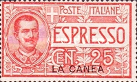 """[Express Stamp - Italy Postage Stamps Overprinted """"LA CANEA"""", tyyppi E]"""