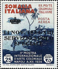"""[Airmail - Postage Stamp Overprinted """"11 NOV 1934 XIII SERVIZIO AEREO SPECIALE"""", type B]"""