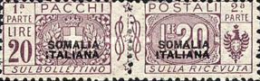 [Italian Parcel Post Stamps Overprinted in Red Or Black Colour, type E6]