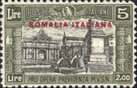 [Italian Postage Stamps Overprinted in Red or Black, type AA3]
