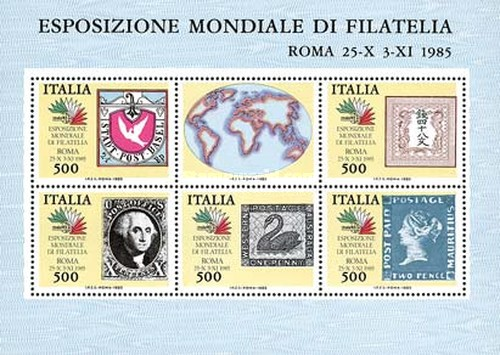 [Stamp Exhibition - ITALIA '85 - Stamps on Stamps, type ]