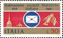 [The 50th Anniversary of the Federation of Italian Philatelic Societies, Typ AFE]