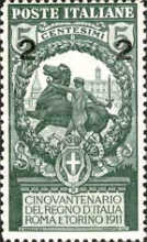 [Overprint - The 50th Anniversary of the Italian State 1911, type AZ]