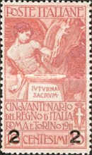 [Overprint - The 50th Anniversary of the Italian State 1911, type AZ1]