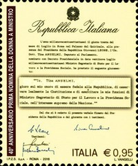 [The 40th Anniversary of the First Female Member of the Italian cabinet - Tina Anselmi, Typ EAW]