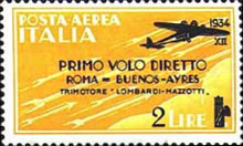[Airmail - First Flight Rome-Buenos Aires - Airmail Stamp of 1930 in New Colours and Surcharged, Typ HY]