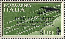 [Airmail - First Flight Rome-Buenos Aires - Airmail Stamp of 1930 in New Colours and Surcharged, Typ HY1]