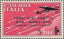 [Airmail - First Flight Rome-Buenos Aires - Airmail Stamp of 1930 in New Colours and Surcharged, Typ HY2]