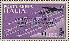 [Airmail - First Flight Rome-Buenos Aires - Airmail Stamp of 1930 in New Colours and Surcharged, Typ HY3]
