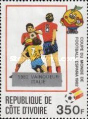 [Football World Cup - Spain - Overprinted with Winners from 1966-1982, Typ UP]