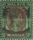 [King George VI - Straits Settlements Postage Stamps Handstamped Overprinted with Seal, type B32]