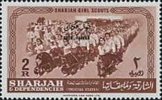 """[Girl Scouts - Sharjah Postage Stamps Overprinted """"KHOR FAKKAN"""", type G]"""