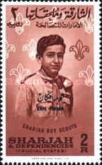 """[Girl Scouts - Sharjah Postage Stamps Overprinted """"KHOR FAKKAN"""", type H]"""