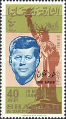 """[Airmail - The 1st Anniversary of the Death of John F. Kennedy, 1917-1963"""" - Sharjah Postage Stamps Overprinted """"KHOR FAKKAN"""", type V]"""