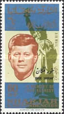 """[Airmail - The 1st Anniversary of the Death of John F. Kennedy, 1917-1963"""" - Sharjah Postage Stamps Overprinted """"KHOR FAKKAN"""", type W]"""