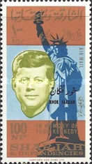 """[Airmail - The 1st Anniversary of the Death of John F. Kennedy, 1917-1963"""" - Sharjah Postage Stamps Overprinted """"KHOR FAKKAN"""", type X]"""