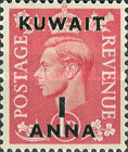 """[King George VI - Stamps of Great Britain Overprinted """"KUWAIT"""" and Surcharged New Values in Indian Currency, type AY]"""