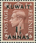 """[King George VI - Stamps of Great Britain Overprinted """"KUWAIT"""" and Surcharged New Values in Indian Currency, type AZ]"""