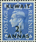"""[King George VI - Stamps of Great Britain Overprinted """"KUWAIT"""" and Surcharged New Values in Indian Currency, type BA]"""
