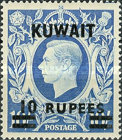 """[King George VI - Stamps of Great Britain Overprinted """"KUWAIT"""" and Surcharged New Values in Indian Currency, type BH]"""