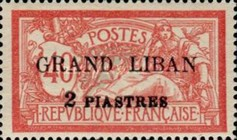 "[French Postage Stamps Surcharged & Overprinted ""GRAND LIBAN"", type B]"