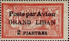 "[Airmail - French Postage Stamps Surcharged and Overprinted ""Poste par Avion"", type C]"