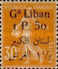 [French Postage Stamps Surcharged & Overprinted in French & Arabic, type D6]