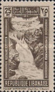 "[Airmail - Falls of R. Litani and Winter Sports Field ""Les Cedres"", type DU]"