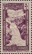 "[Airmail - Falls of R. Litani and Winter Sports Field ""Les Cedres"", type DU1]"