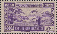 "[Airmail - Falls of R. Litani and Winter Sports Field ""Les Cedres"", type DV]"