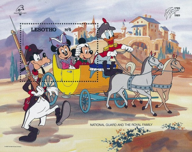"""[International Stamp Exhibition """"PHILEXFRANCE '89"""" - Paris, France - The 200th Anniversary of the French Revolution - Walt Disney Figures in Uniforms, type ]"""