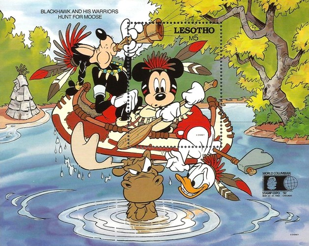 """[International Stamp Exhibition """"WORLD COLUMBIAN STAMP '92"""" - Chicago, U.S.A. - Walt Disney Characters as Indians, type ]"""