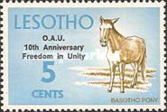 """[The 10th Anniversary of O.A.U. - Previous Issues Overprinted """"O.A.U. 10th Anniversary Freedom in Unity"""", type DS]"""