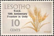 """[The 10th Anniversary of O.A.U. - Previous Issues Overprinted """"O.A.U. 10th Anniversary Freedom in Unity"""", type DT]"""
