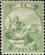 [Liberia - Stamps Printed 1½-2mm Apart on Thick Greyish White Paper, type A2]