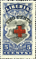 [Red Cross - No. 213-225 Surcharged, type EG2]