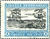 [The 100th Anniversary of the Landing of the First Settlers at Cape Mesurado, type FA]