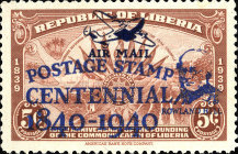 [Airmail - The 100th Anniversary (1940) of the First Postage Stamps - No. 369-371 Overprinted, type XGY1]