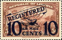 [Airmail - Registered Mail - No. 373 Surcharged, type XHE]
