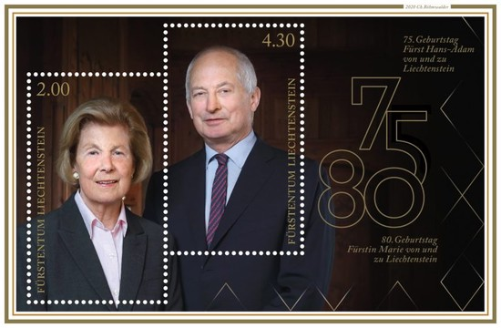 [The 75th Anniversary of the Birth of Prince Hans-Adams II, and The 80th Anniversary of the Birth of Princess Marie of Liechtenstein, type ]