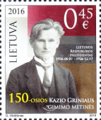 [The 150th Anniversary of the Birth of Kazys Griniaus, 1866-1950, type AHQ]