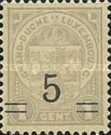[Stamps of 1906-19 Surcharged with New Value and Bars in Black or Red, Typ M2]